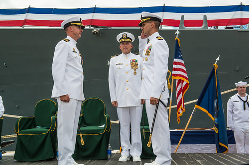 Pearl Harbor, HI - Commander James J. Juster relieved Commander Michael E. Ray as Commanding Officer of USS O'Kane (DDG 77) during a traditional change of command ceremony at Joint Base Pearl Harbor – Hickam.