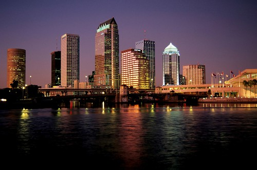 city blur water glass skyline tampa lights florida afterglow darkblue
