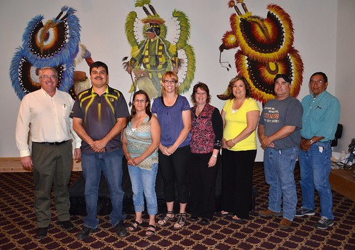 Crow Creek MOU signing – Pictured left to right are Bruce Jones,  USDA Rural Development Acting Housing Director; Brandon Sazue Sr., Crow Creek Sioux Tribal Chairman;  Leeann Piskule, Crow Creek Housing Authority Residential Services Coordinator; Paula Corcoran,  USDA Rural Development Loan Specialist; Lori Moen, GROW South Dakota Chief Operating Officer; Ronnette Kirkie-Walton, Crow Creek Housing Authority Acting Chief Executive Officer; Terry Abernathy,  Crow Creek Sioux Tribal Secretary; and Wayne McGhee Crow Creek Sioux Tribal Councilman.