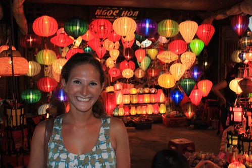Lina in front of a Hoi An lantern shop