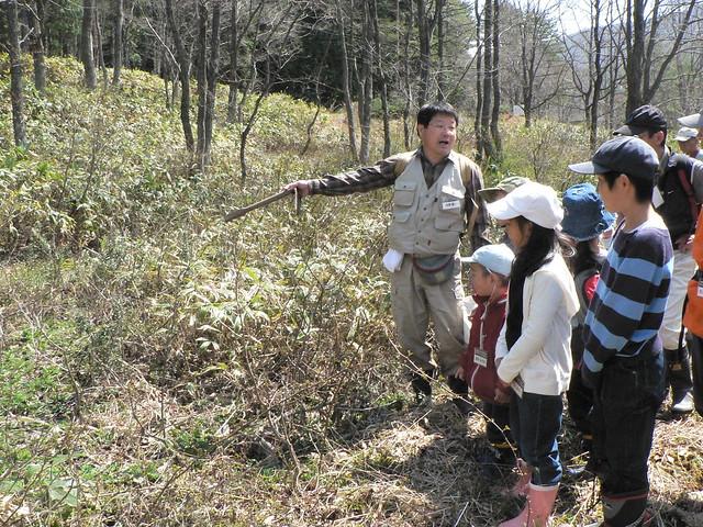 カスミサンショウウオの生息環境と産卵環境について説明を聞いた.