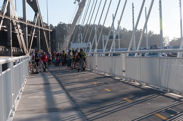 Unfinished end of new Oakland-SF Bay Bridge bike lane, on opening day