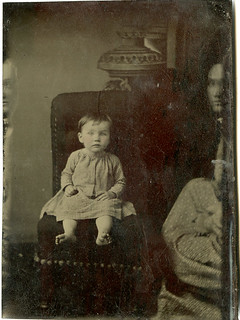 Tintype of Strange Double Ghost Hidden Mothers with Barefoot Baby