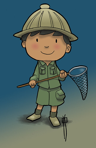 niño con cazamariposas