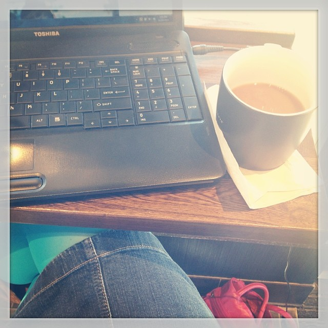 It's a day for bright tights, lots of writing and a free fancy coffee from my barista. #happyworkday