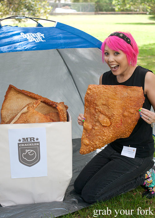 Chocolatesuze with giant sheet of pork crackling at the Sydney Food Bloggers Christmas Picnic 2013