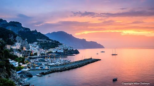 sea italy seascape sunrise dawn coast boat campania harbour places amalfi coastscape