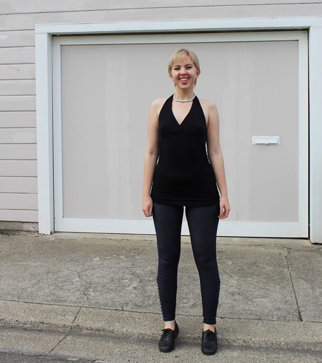 Black Halter Top, Navy Blue Leggings - OOTD 1/6/2013