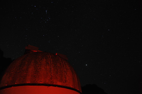 Orion and Jupiter over the Mount Burnett Observatory Dome (landscape)