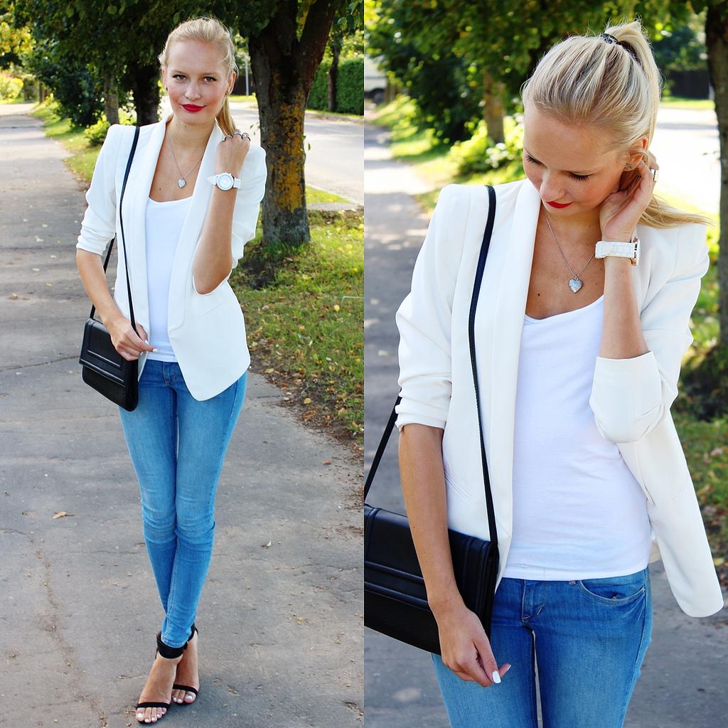 white blazer from H&M, summer style: white blazer with light blue jeans, zara sandals heels, how to style zara heels