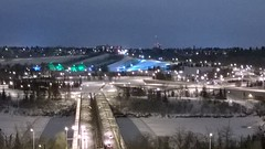I love the shadows of the bridge on the snow covered river seen from the top of McDougall Hill #yeg