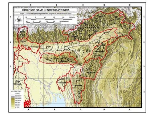 印度水壩地圖,由國際河流繪製。