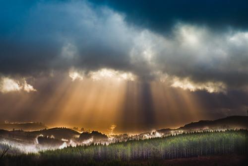 fog clouds oregon sunrise landscape sunburst coastalrange