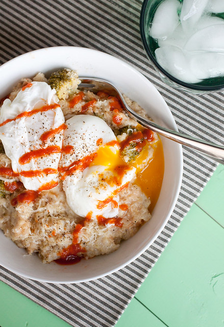 Cheesy Broccoli Quinoa with Sriracha and Poached Eggs