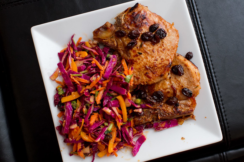 Pork Chops with Asian Coleslaw