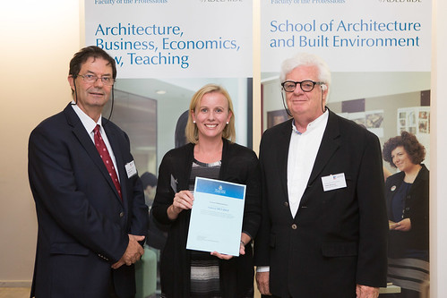 2013 Winner: anessa Menadue presented by Adjunct A/P Terence Williamson and Prof George Zillante (Head of School)