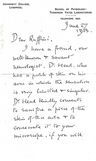 Sherrington to Ruffini - 27 June 1903 (WCG 48.16)