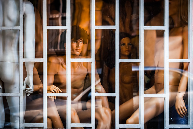 Naked manequins in a Sofia storefront, Sofia, Bulgaria