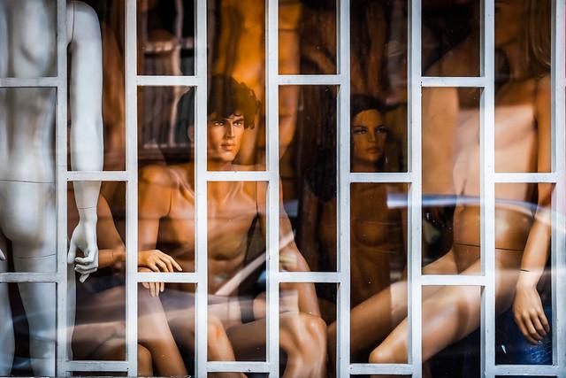 Naked manequins in a Sofia storefront, Sofia, Bulgaria
