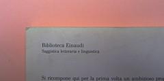 Roland Barthes, Variazioni sulla scrittura. Einaudi 1999. [Responsabilità grafica non indicata]. Quarta di copertina (part.), 2