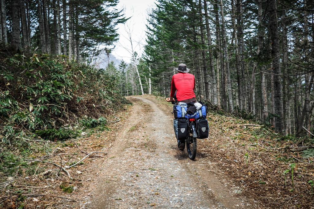 Dirt road touring near Hobetsu Campground, Hokkaido, Japan