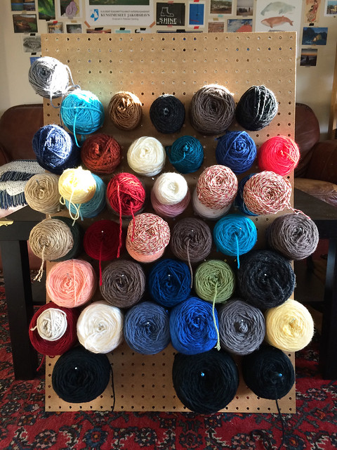 yarn on peg board
