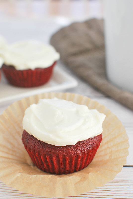 Red Velvet Cupcakes - only makes 4 cupcakes! Perfect for when you don't watch a huge batch of cupcakes!