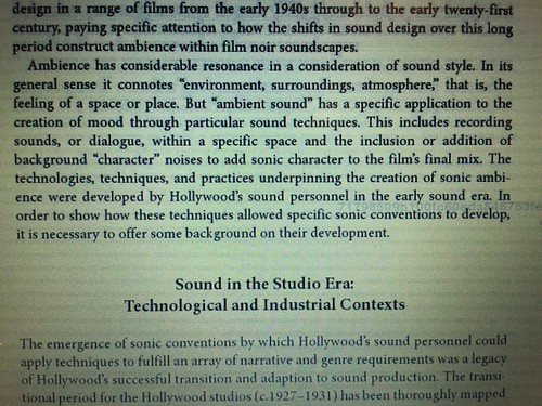 I like is paragraph in The Ambience of Film Noir about background sound