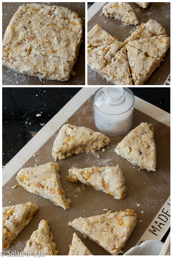 White Chocolate, Apricot and Walnut Scones- How to shape scones
