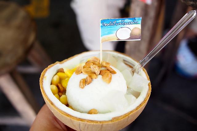famous chatuchak coconut ice-cream. Bangkok, Thailand