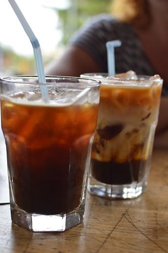 Long black on ice, long black + almond milk on ice
