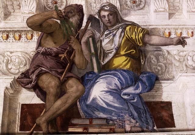 Paolo Veronese, Villa Barbaro, Maser, Saturn (Zeit) und Geschichte (Saturn- Time and Historia)
