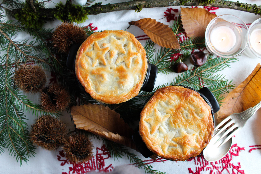 Pot pie au filet mignon, champignons et châtaignes
