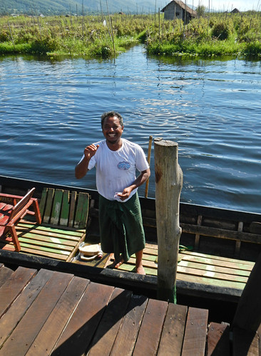 Ferryman on our Inle Lake Bike Trip
