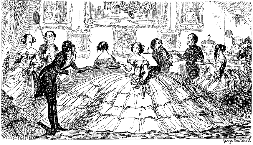 A Splendid Spread, satire on an early inflatable (air tube) version of the crinoline by George Cruikshank