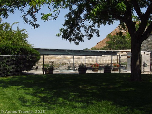 Another view of the outdoor pool from the parking area, Hot Springs State Park, Thermopolis, Wyoming