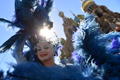 The parade of artists of Cirque du Soleil march through St. Petersburg