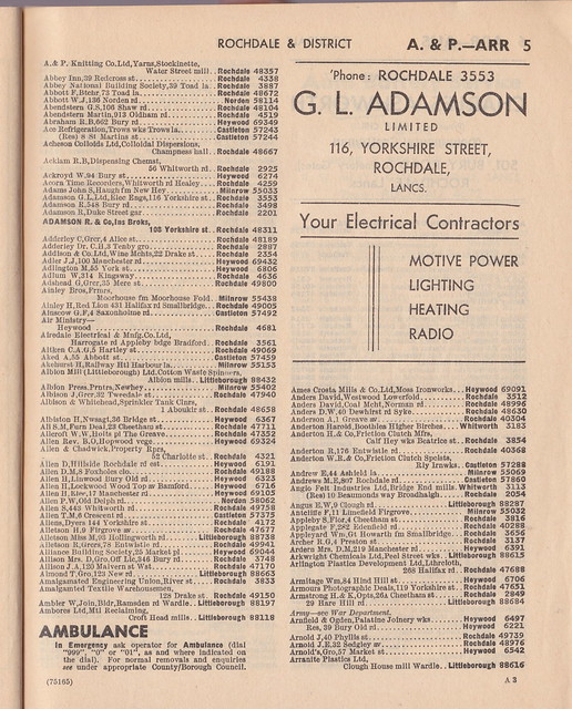 Rochdale & District telephone directory, March 1959