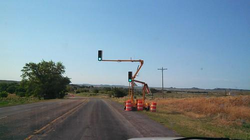 Road construction for one lane bridge