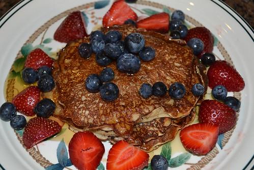 Buckwheat pancake breakfast with fruit