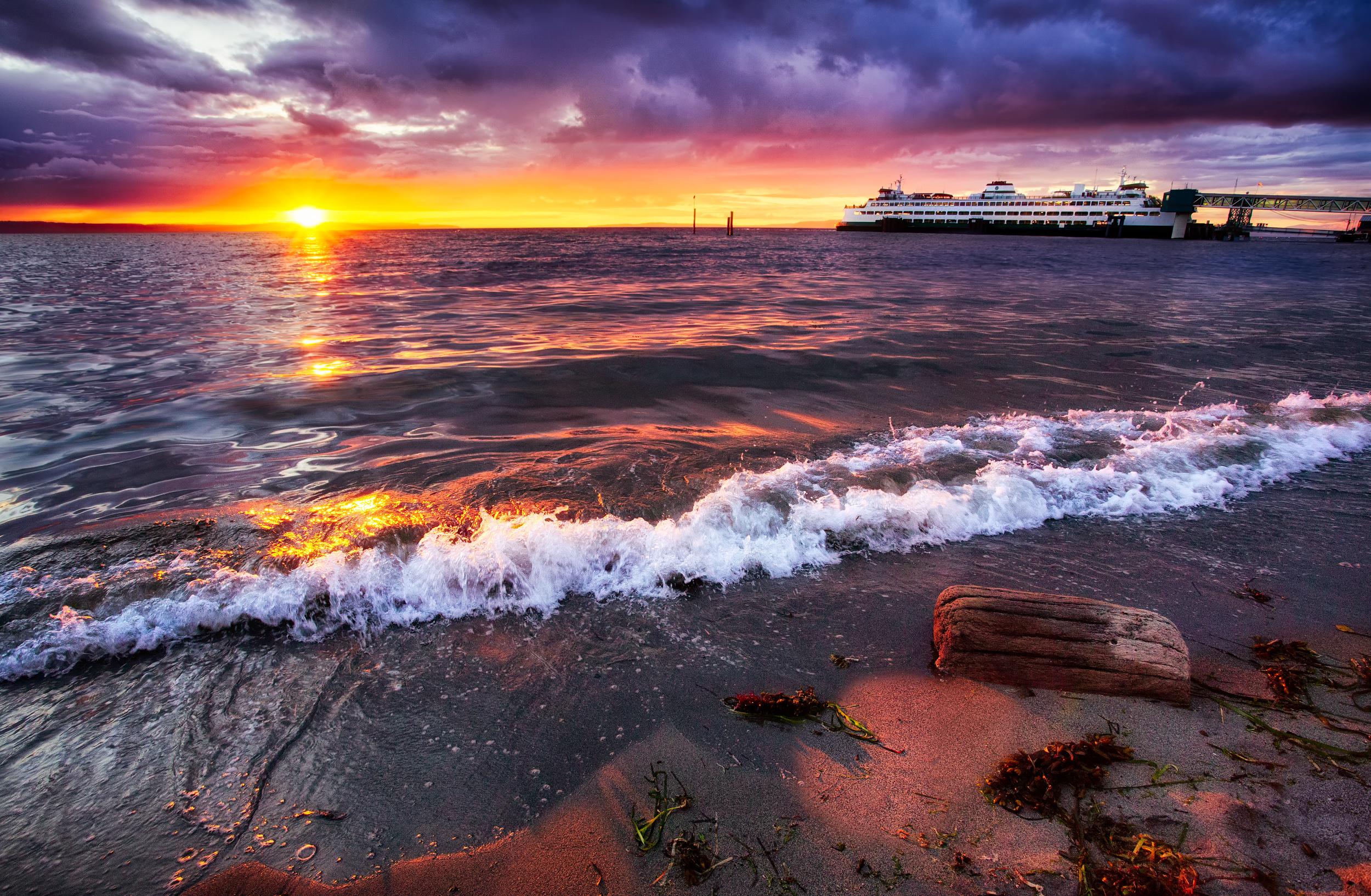 Beautiful Beach Sunset In Edmonds Washington By Michael Ma
