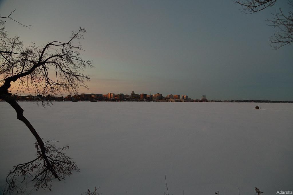 Frozen Lake Manona at Dusk