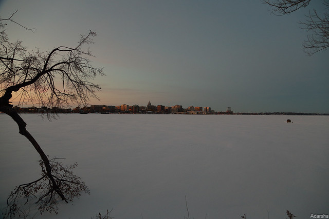 Frozen Lake Manona at Dusk