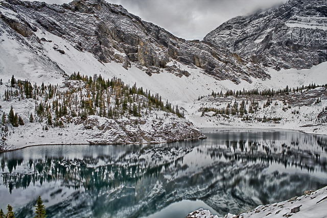 Fall Snow At Lower Galatea Lake, Alberta