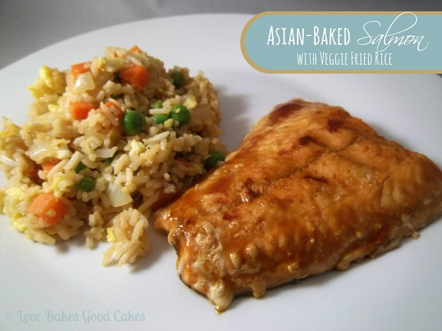 Asian-Baked Salmon with Veggie Fried Rice on a white plate.