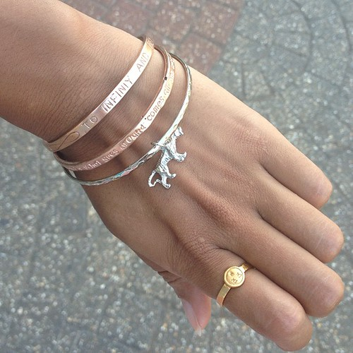 Looveeee my new @outerbridgejewelry pieces (rose gold bangles and ring) so cute!  Thank you @pookieouterbridge ! Xox