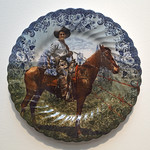 Lesley Baker - The Grass is Greener; recycled plate, digital decal, fired to 019, 2013
