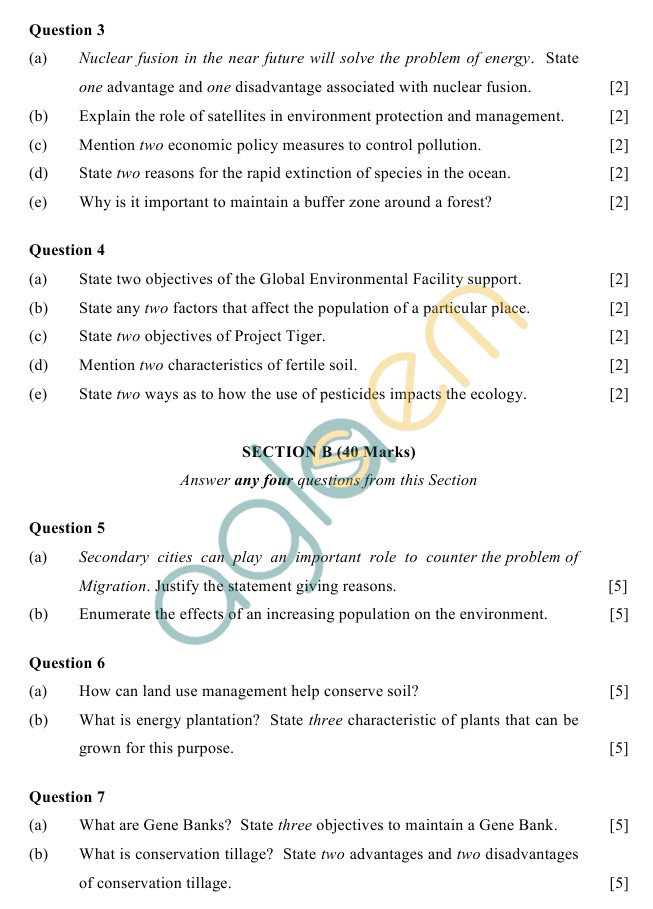 ICSE Class 10 Environmental Science Sample Paper