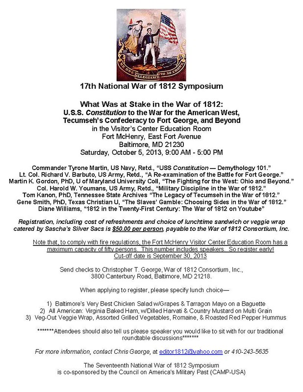 17th National War of 1812 Symposium Flyer
