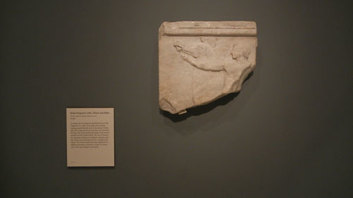 DSCN7533 _ Relief Fragment with a Horse and Rider, Greek, c. 500 B.C., Getty Villa, July 2013